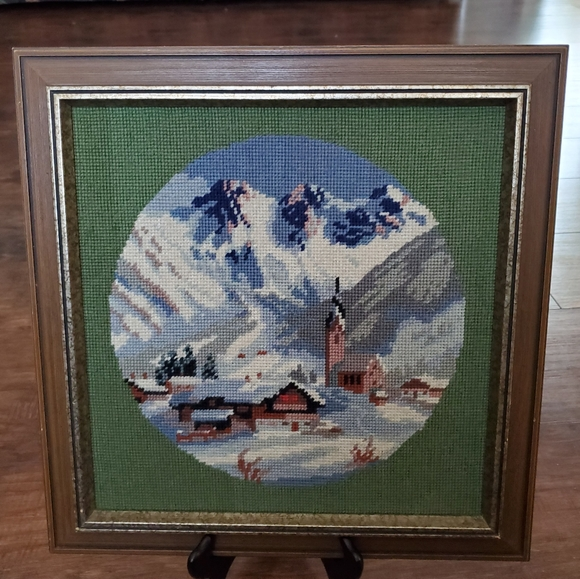 Hand Crafted Other - Needlepoint Winter Village Picture Framed